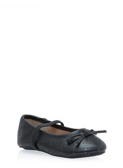 Girls Faux Leather Ballet Flats with Bow Accent - 3736066940001