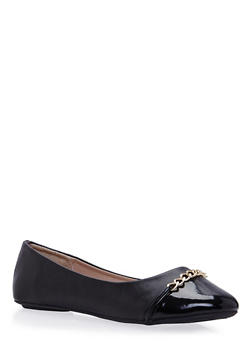 Girls Faux Leather Flats with Chain Link Accents - 3736066940007