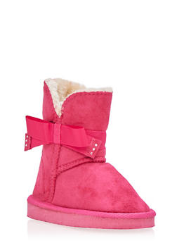 Girls Brushed Suede Boots with Rhinestone Bow - 3736068060043