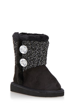 Girls Sweater Knit Boots with Rhinestones - 3736068060044