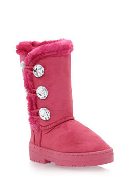 Girls Faux Shearling Lined Boots with Crystal Buttons - 3736068060046