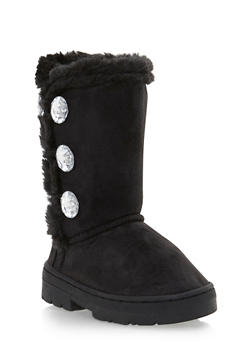 Girls Faux Shearling Lined Boots with Crystal Buttons - 3736068060047