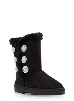Girls 11-5 Microsuede Boots with Rhinestone Button Detail - 3736068060073