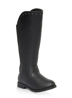 Girls 11-5 Studded Elastic Back Riding Boots - 3736068060075