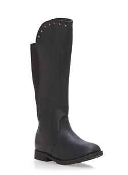 Girls Knee High Boots with Studded Trim - 3736068065411