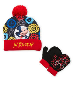 Boys Mickey Mouse Beanie Hat and Mittens Set - 3737067500030