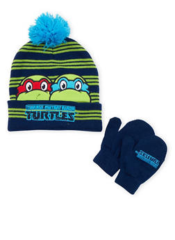 Boys Ninja Turtles Beanie Hat and Mittens Set - 3737067500031