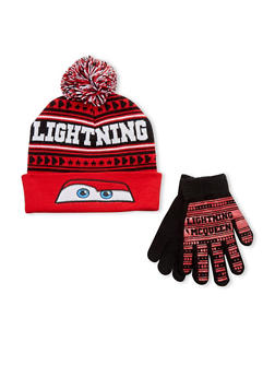 Boys Lightning McQueen Hat and Gloves Set - 3737067500053