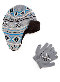 Boys Knit Trapper Hat and Gloves Set - 3737068060051
