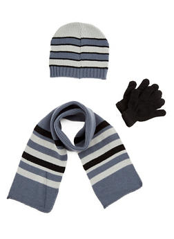 Boys Knit Beanie Hat with Scarf and Gloves Set - 3737068060060