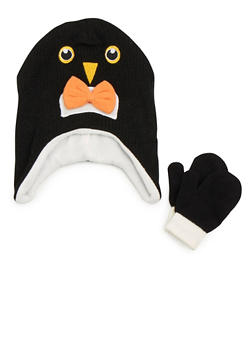 Boys Hat and Mittens Set with Animal Design - 3737068060070