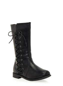 Girls Boots with Side Lace Up Accents - 3738061120003