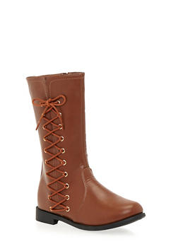 Girls 10-4 Boots with Side Lace Up Accents - 3738061120004