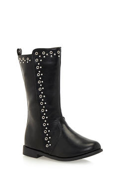 Girls Studded Boots in Faux Leather - 3738061120009