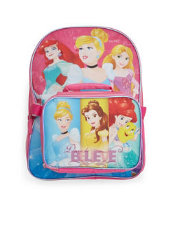 Girls Disney Princesses Backpack and Lunch Bag Combo - 3742052990337