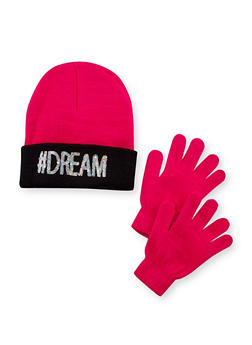 Girls Hat and Gloves Set with Dream Design - 3743041650001