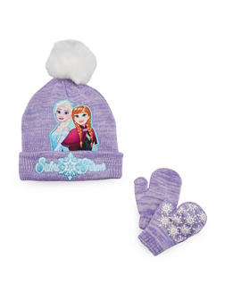 Girls Hat and Mittens Set with Frozen Graphic - 3743067500002
