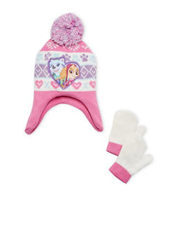 Girls Paw Patrol Hat and Mittens Set - 3743067500003
