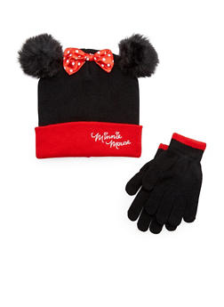 Girls Minnie Mouse Hat and Gloves Set - 3743067500021