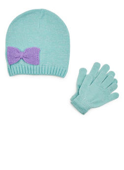 Girls Bow Beanie Hat and Gloves Set - 3743068060300