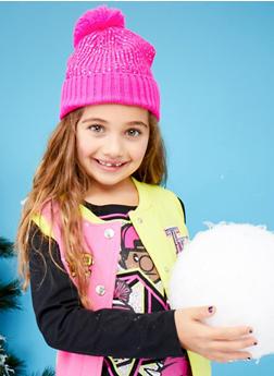 Girls Metallic Foil Beanie Hat with Gloves Set - 3743068060302