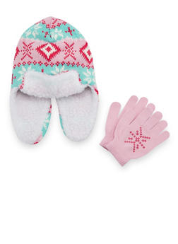 Girls Trapper Hat and Gloves with Snowflake Print - 3743068060304