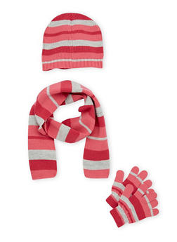 Girls Striped Scarf Hat and Gloves Set - 3743068060310