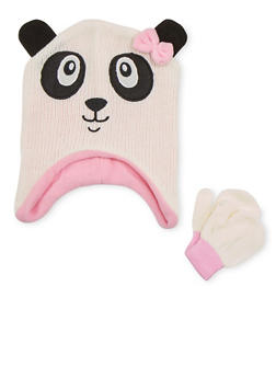 Girls Hat and Mittens Set with Animal Design - PINK - 3743068060320
