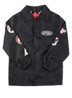 Boys 4-7 Asphalt Varsity Coat with Varied Logo Graphics - 3778073451000