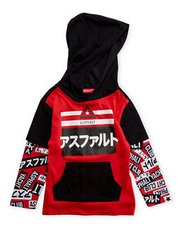 Boys 4-7 Asphalt Graphic Layered Hoodie - 3778073451024