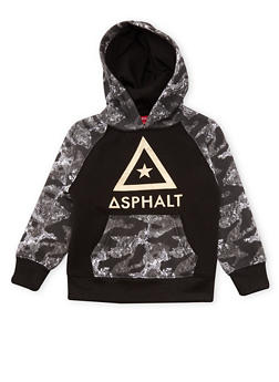 Boys 4-7 Asphalt Hoodie with Camo Raglan Sleeves - 3778073451500