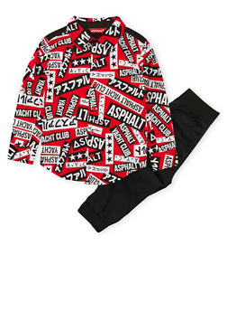 Boys 4-7x Asphalt Graphic Button Front Shirt with Joggers Set - 3778073452013