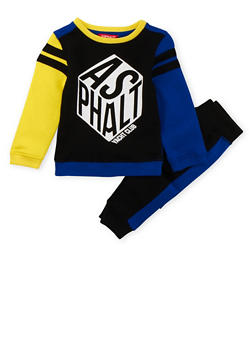 Boys 4-7x Color Block Shirt and Joggers Set with Asphalt Print - 3778073452019