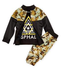 Boys 4-7X Asphalt Graphic T-Shirt with Camo Accented Jacket and Joggers - 3778073452104