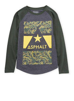 Boys 8-20 Asphalt Graphic Top with Raglan Sleeves - 3779073451403