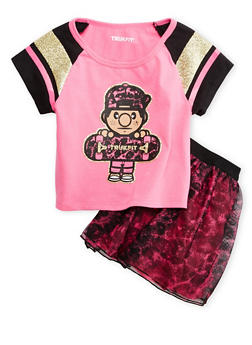 Girls 4-6x Trukfit Glitter Graphic Tee with Tulle Skirt Set - 3780073452000