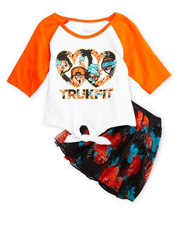 Girls 4-6x Trukfit Glitter Graphic Tie Front Tee with Floral Tulle Skirt Set - 3780073452001