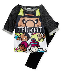 Girls 4-6x Trukfit Graphic Knit Top and Skinny Jeans Set - 3780073452012