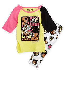 Girls 4-6x Trukfit Graphic Top with Printed Jeans Set - 3780073452013