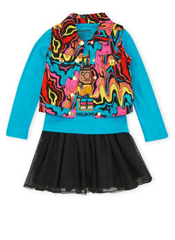 Girls 4-6x Trukfit Printed Vest and Graphic Top with Tutu Set - 3780073452100