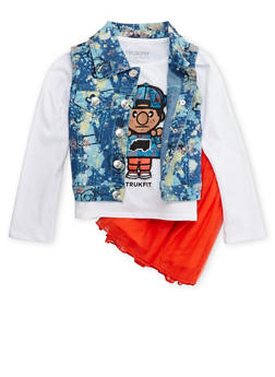 Girls 4-6x Trukfit Graphic Long Sleeve Top with Paint Splattered Vest and Skirt - 3780073452101