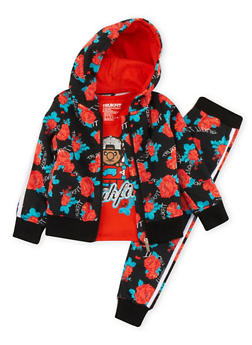 Girls 4-6x Trukfit Graphic T-Shirt and Floral Print Sweatsuit Set - 3780073452105