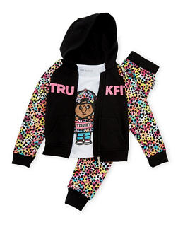 Girls 4-6x Trukfit Hoodie T-Shirt and Joggers with Rainbow Leopard Print - 3780073452108