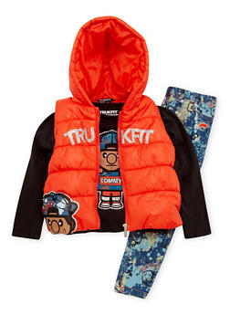 Girls 4-6x Trukfit Puffer Vest and Graphic Top with Jeans Set - 3780073452109