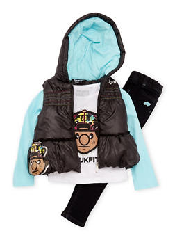 Girls 4-6x Trukfit Puffer Vest and Top with Jeggings Set - 3780073452111