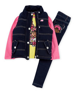 Girls 4-6x Trukfit Vest with Shirt and Jeans - 3780073452113