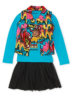 Girls 7-12 Trukfit Printed Vest and Graphic Top with Tutu Set - 3781073453100