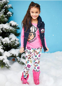 Girls 7-12 Trukfit Top and Denim Puffer Vest with Pants Set - 3781073453114