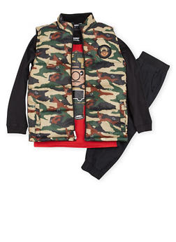 Boys 8-12 Trukfit Graphic Top with Camo Vest and Joggers Set - 3783073453102