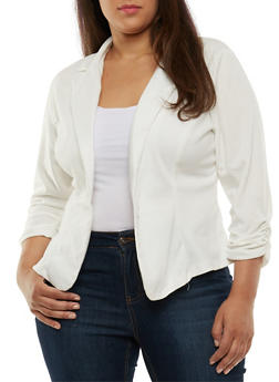 Plus Size One Button Blazer with Ruched Sleeves - IVORY - 3802020620375